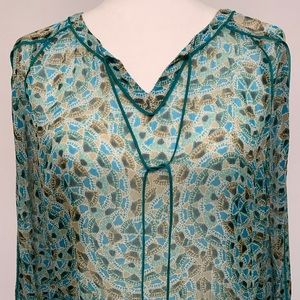 Lucky Brand Sheer turquoise ombré peasant blouse
